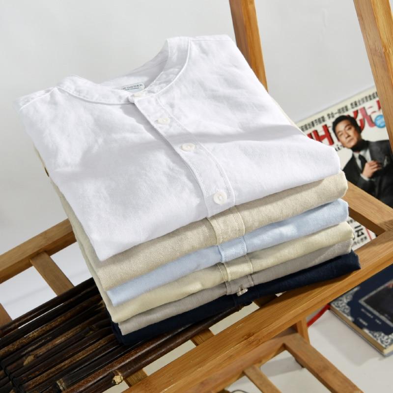 Moda Keten Erkek Casual Gömlek Slim Fit Şık Keten Elbise Gömlek - Erkek Giyim - Fotoğraf 6