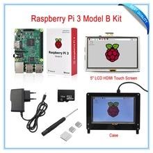 Promo offer New! Raspberry Pi 3 Kit / 5 Inch LCD HDMI USB Touch Screen+5V 2.5A Power Supply+Heatsinks+Case(Black)