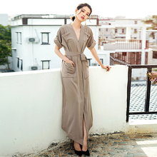 db1e55a450c VERRAGEE Brand V neck long shirt dress Vintage with pocket belt women 2018  New Summer short