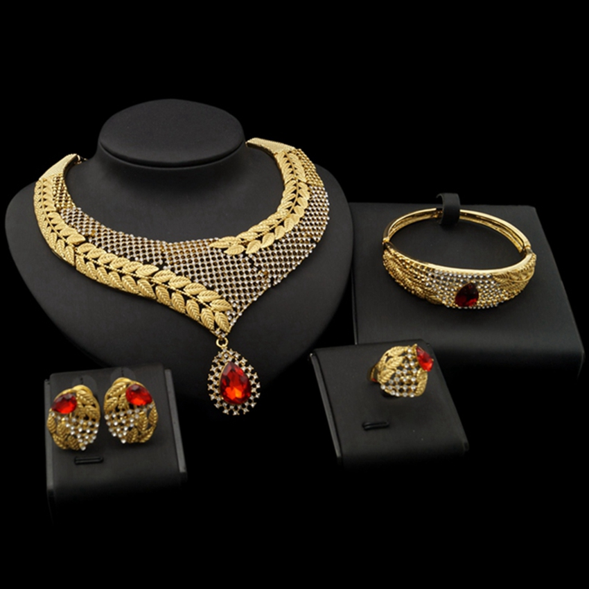 Yulaili Best Sell Red Water Drop Zircon Decoration Golden Leafs Chain Dubai Necklace Bracelet Ring Earrings Jewelry Sets