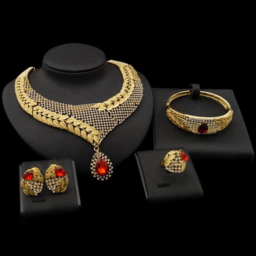 Yulaili meilleure vente goutte d'eau rouge Zircon décoration feuille d'or chaîne Dubai collier Bracelet anneau boucles d'oreilles ensembles de bijoux