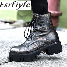 ESRFIYFE 2019 New Genuine Leather Top Quality Fashion Women Ankle Boots Thick Heel Round Toe Spring/autumn Martin