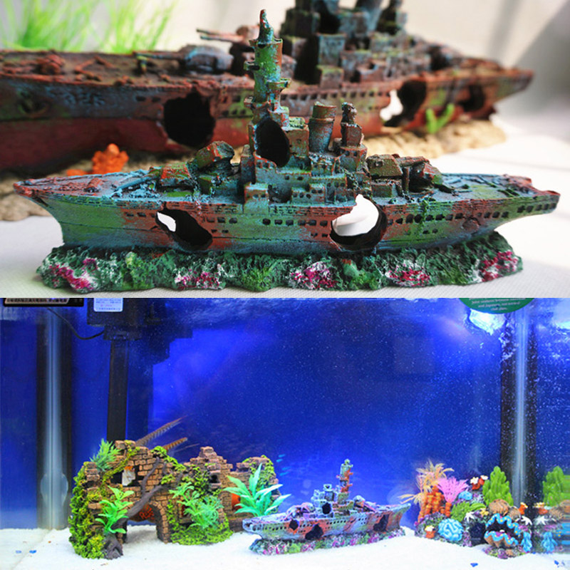Resin damaged navy war boat ship wreck fish tank ornament for Aquarium cave decoration