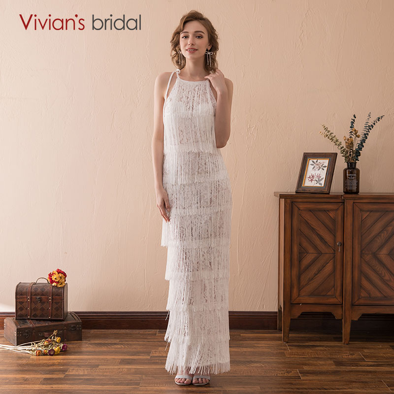 Vivian's Bridal Tassel Mermaid/Trumpet Wedding Dress Off The Shoulder Ivory Long Bridal Gown Vestido De Noiva New Arrival 2018