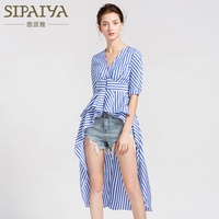 2018 Summer New Korean V Neck Dress Half Sleeve Blouse Irregular Stripes Shirt Dress Female Swallow Tail Shirt Ruffles Hem