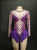 2019 Women New Purple Tassel Sexy Bodysuit Full Shiny Rhinestone Costumes Celebrate Nightclub Party Singer Dancer Stage Wear