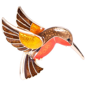 Premium quality vintage Drip color edhumming bird brooch Bird Modelling Corsage Hand Dripping Hummingbird Brooches Accessories