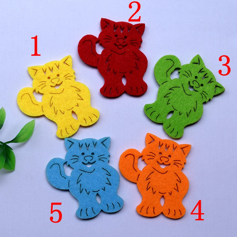 100pcs/lot about 5.5cm 5 color optional Felt applique non - woven cute cat wedding decoration scrapbooking Accesories, 613