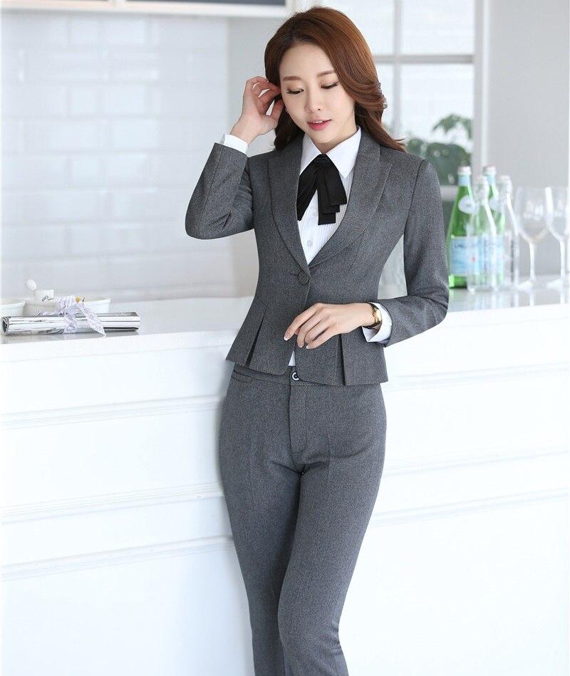 Autunno Uniformi Dell'ufficio Giacche Novità Stili Professionale Formale Lavori Set Grey Grigio Dell'attività Signore Inverno Abiti E Con Pantaloni qwqIBgXUW4