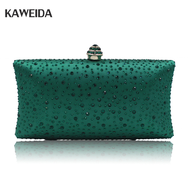 4190a8af3c96c New 2018 Evening Clutch Bag Women High-grade Green Satin Clutches Hand Bag  pochette soiree