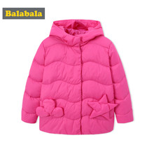 Balabala Toddler Girls Quilted Lighweight Down Jacket with Applique Kids Hooded Puffer Jacket with Snap Closure in Chinlon Lined(China)