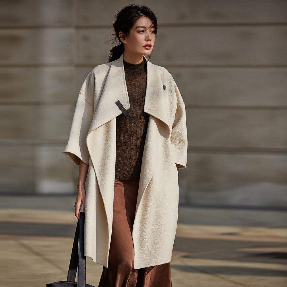 Cachemire Beige Longues Manches Irinaw917 Oversize Carreaux Nouvelle Mode plaid Quarts 2018 Et Laine À Trois Manteau Automne Femmes D'hiver Arrivée De OqvHBOxPw