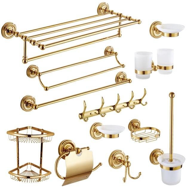 Vintage Polished Solid Brass Zirconium Gold Bathroom Accessories ...