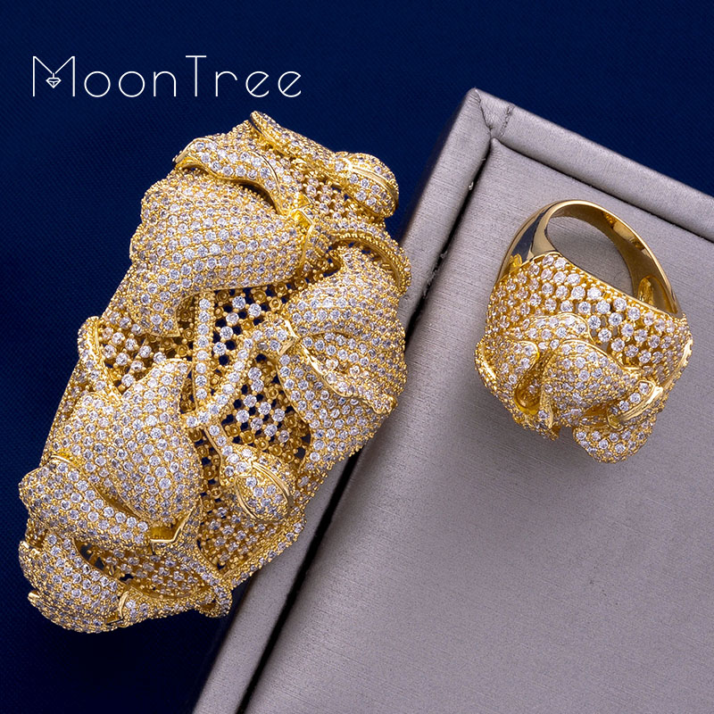 MoonTree Begonia Flowers Luxury SunFlower Full AAA Cubic Zirconia Women Wedding Bracelet Bangle Ring Set Dress Jewelry Sets flowers mexican sunflower motorola droid 2 skinit skin