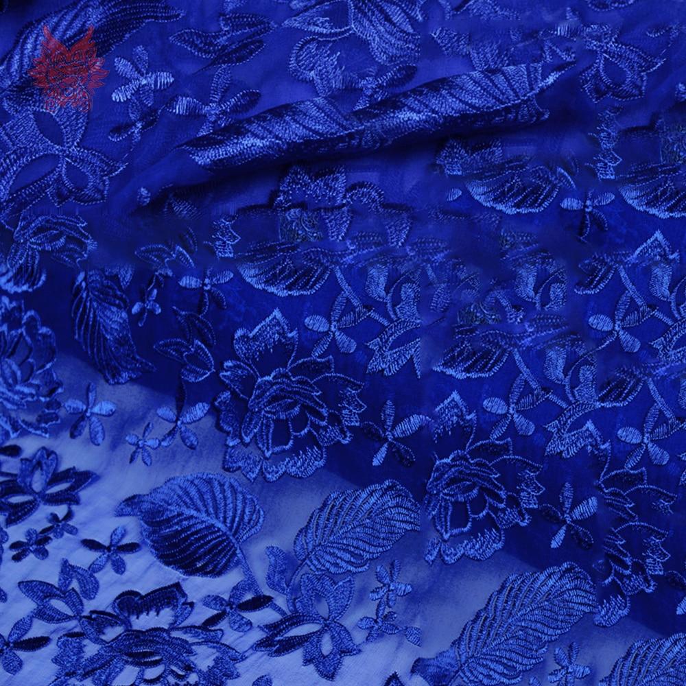 Amerykański styl luksusowe niebieski kwiatowy haft żorżeta jedwabna tkaniny na wesele sukienka na imprezę jedwabiu tissu tecidos stoffen SP4721 w Materiał od Dom i ogród na  Grupa 2