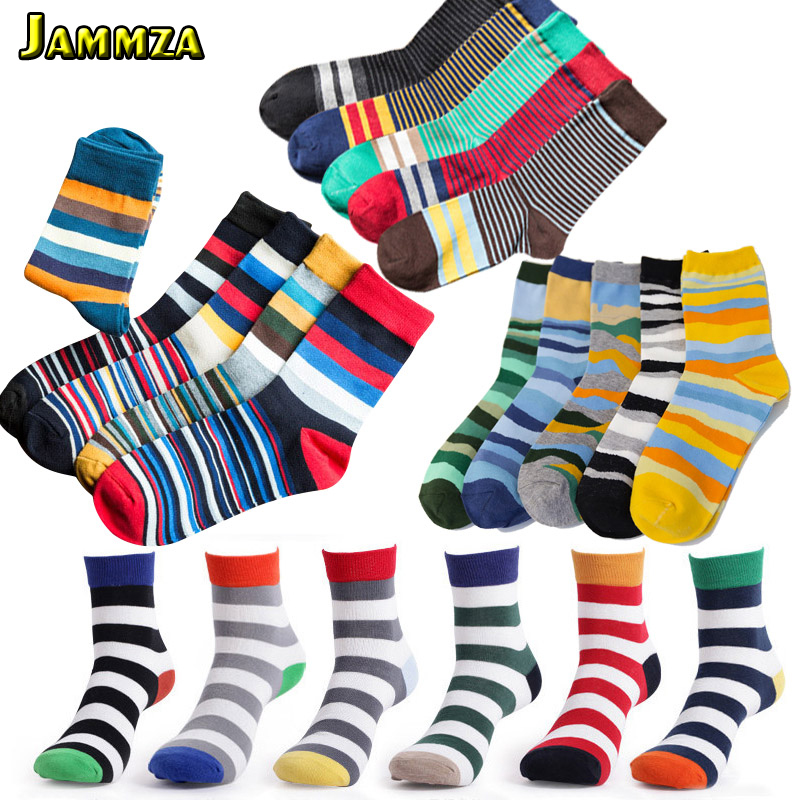 5Pairs/Lot Brand Cotton Men Fashion Socks Vintage Male Striped Candy Colorful Refreshing Wedding Socks Design Business Casual