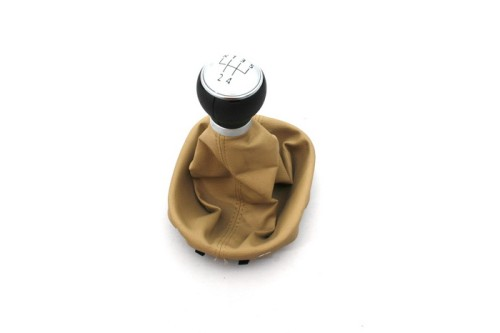 Free Shipping Brand New Matt Silver Shift Knob With Beige Leather Boot for vw Touran MK1