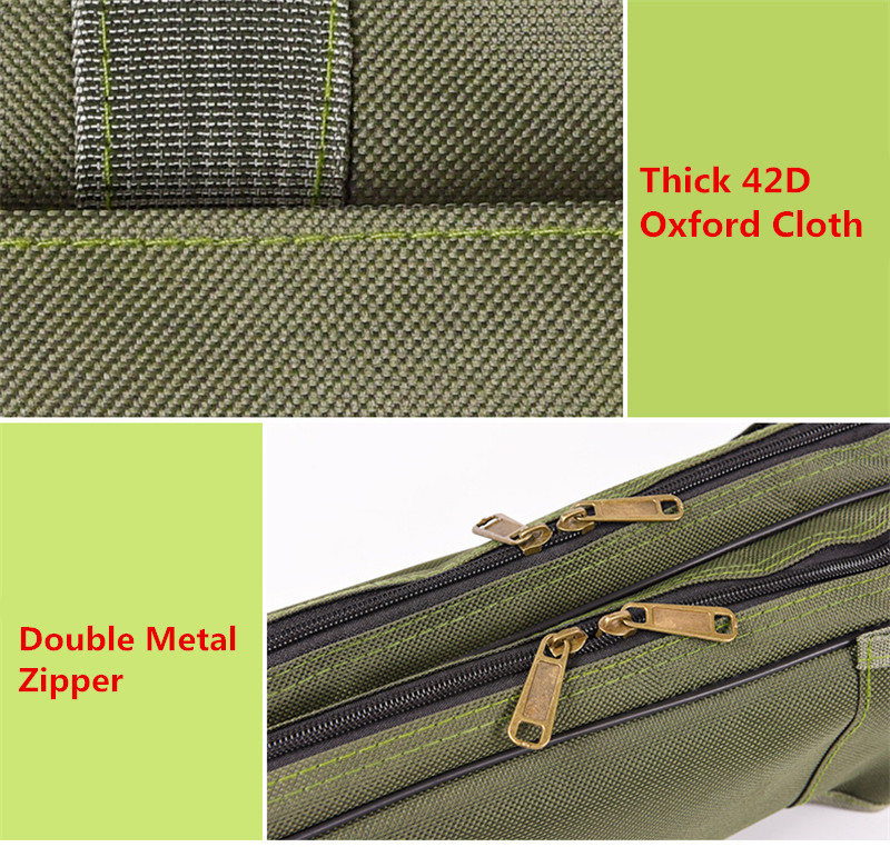 Double Layer Canvas Fishing Bag 100cm 150cm Portable Folding Fishing Rod Bag Fishing Tackle Carrier Bag (5)