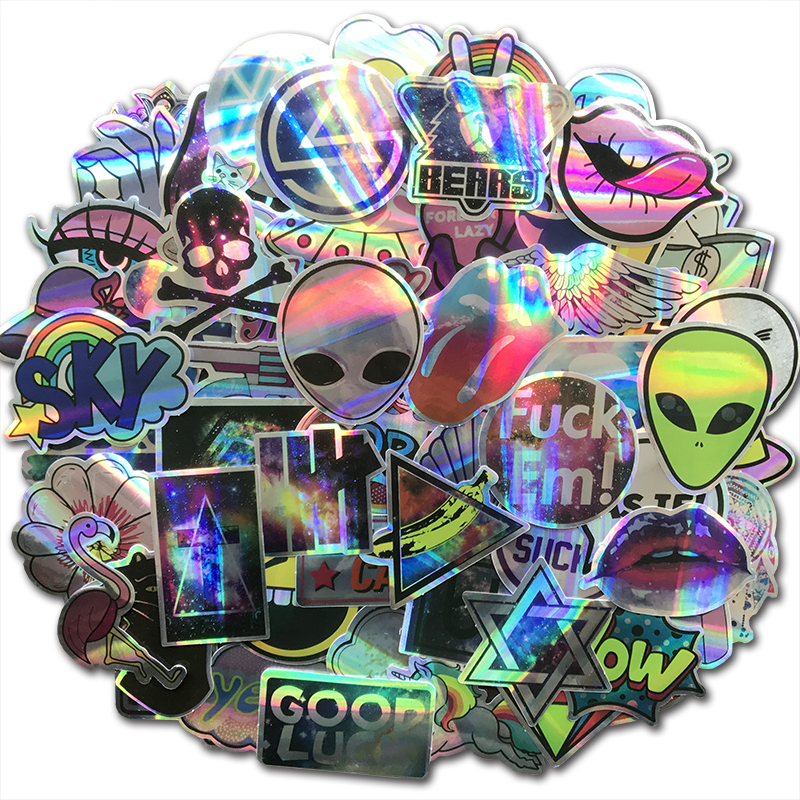 60Pcs Cool Reflective Laser Laptop <font><b>Stickers</b></font> Bomb ET <font><b>UFO</b></font> Shining Flash Graffiti Decals For DIY Skateboard Luggage Motorcycle Car image