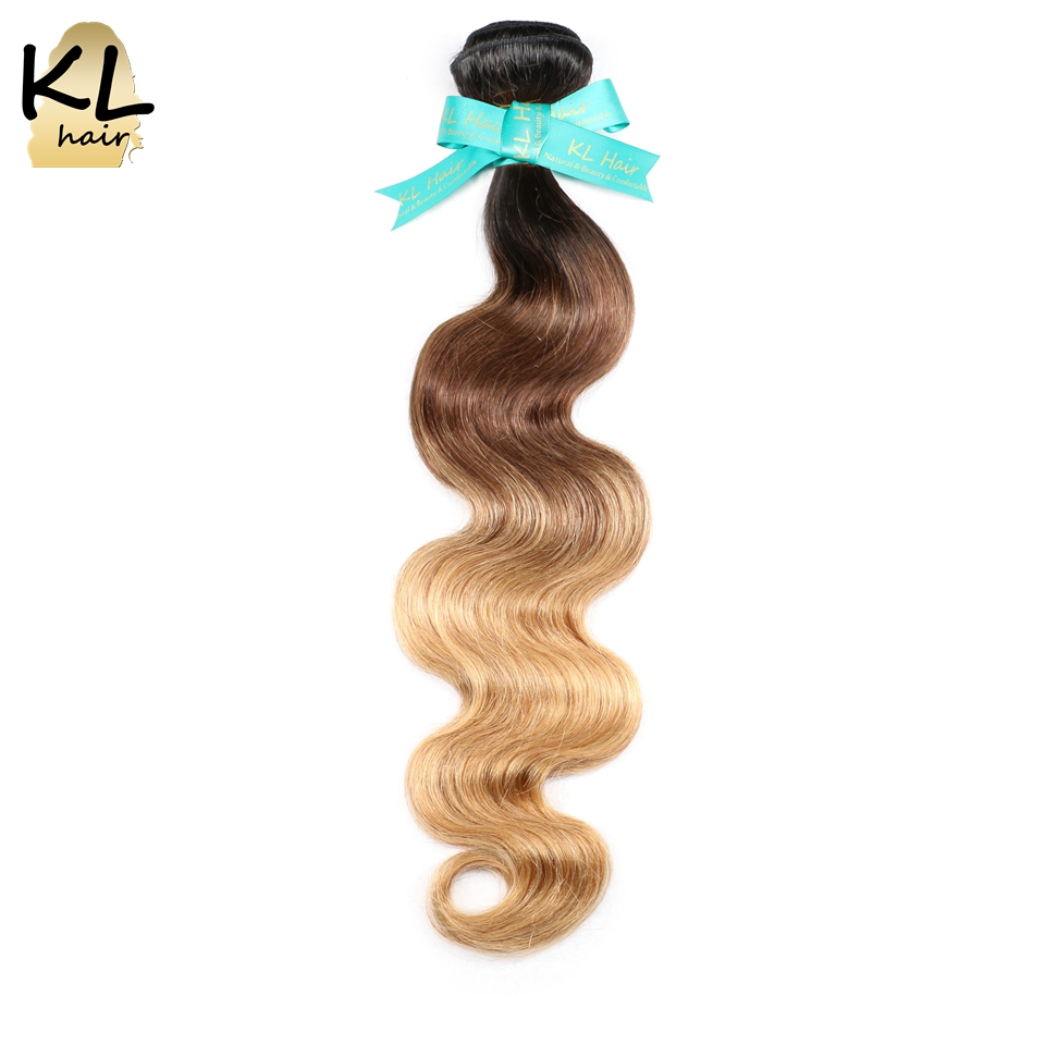 KL Hair Brazilian Body Wave Colorful Hair Ombre T1B/4/27 Brazilian Remy Hair Weaving 100% Human Hair Extensions Free Shipping