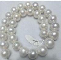 Огромный 15 12 мм белый натуральный 18 AAA жемчуг ожерелье желтая застежка