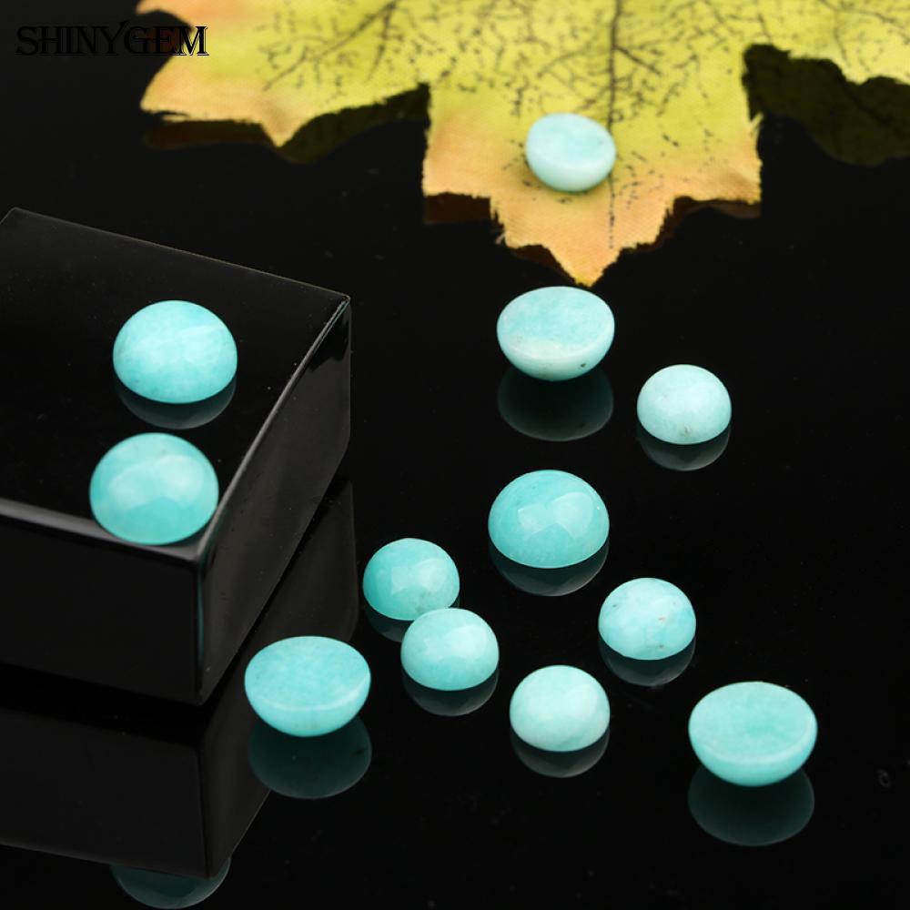 ShinyGem 8mm Runde Natürliche Amazonit Cabochon Nicht Gebohrt Natürliche Stein Perlen Für Schmuck Machen Großhandel Stein Perlen 10 teile//los