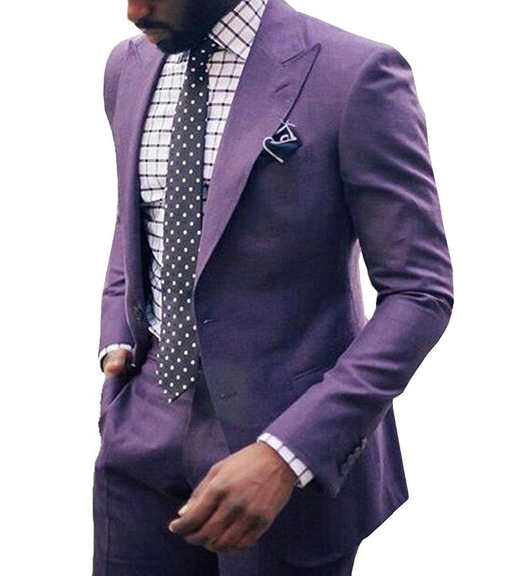 2019 nuevo hombre 2 piezas traje lavanda Formal solapa Slim Fit esmoquin dos botones plano padrino blazer para boda (Blazer + Pantalones)-in chaqueta de deporte from Ropa de hombre    2