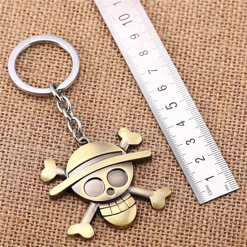 Anime One Piece Key Chain Luffy Straw Hat Pendant Keychain Metal Keyring Jewelry