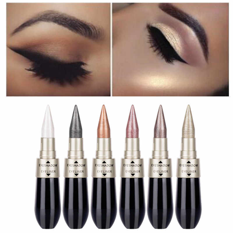 1Pcs Double-end 2-in-1 Pearly Glimmer Waterproof Eyeshadow Black Eye Liner Pen Quick Dry Women Eye Beauty Makeup Accessorices