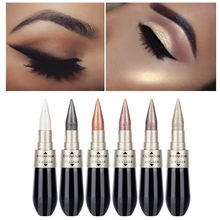 1Pcs Double-end 2-in-1 Pearly Glimmer Waterproof Eyeshadow Black Eye Liner Pen Quick Dry Women Eye Beauty Makeup Accessorices(China)