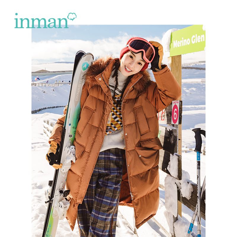 INMAN Autumn New Female Hooded Fur Collar Loose Long Size   Down     Coat