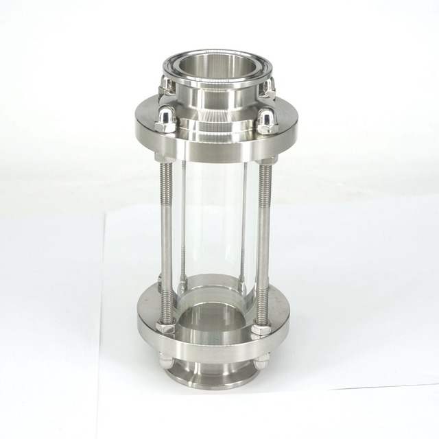"""Anti corrosão diopter estável polimento multiuso vista fluxo de vidro encaixe sanitário de aço inoxidável 1.5 """"tri braçadeira"""