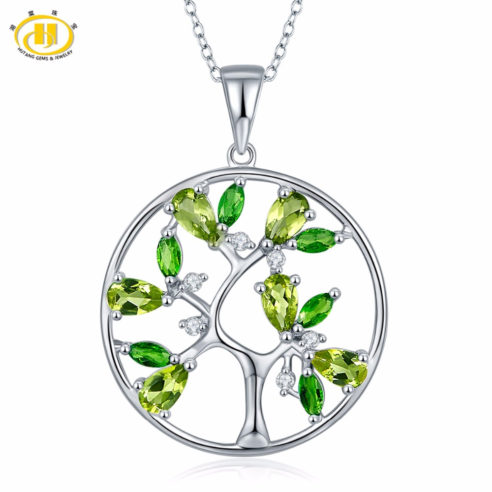 Hutang Stone Jewely Natural Peridot Tree Pendant 925 Sterling Silver Diopside Topaz Gemstone Necklace Fine Jewelry Birthday Gift