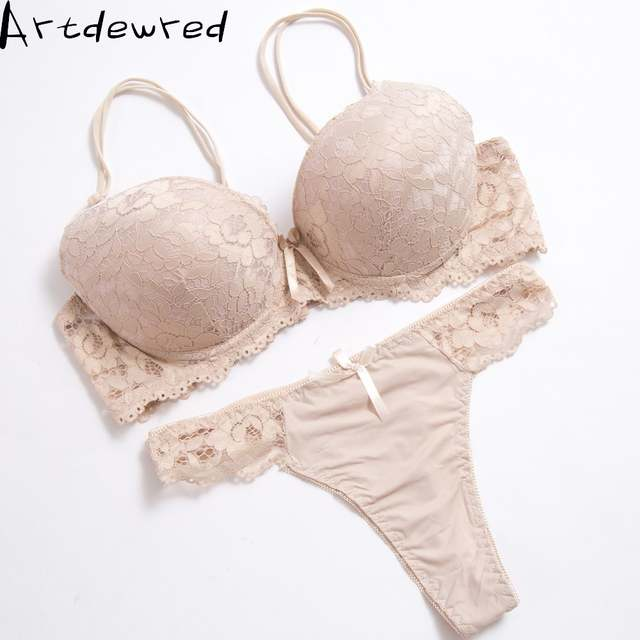 f8e55bdbb5d placeholder High quality Deep V Sexy Plus size Push up Bra set Floral  Embroidery Lace Women Underwear