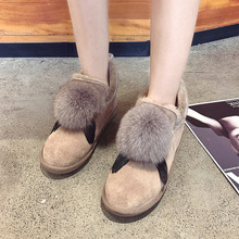 Купить с кэшбэком Snow boots women's short tube 2018 new winter Joker genuine leather fur boots  Ankle  winter shoes women