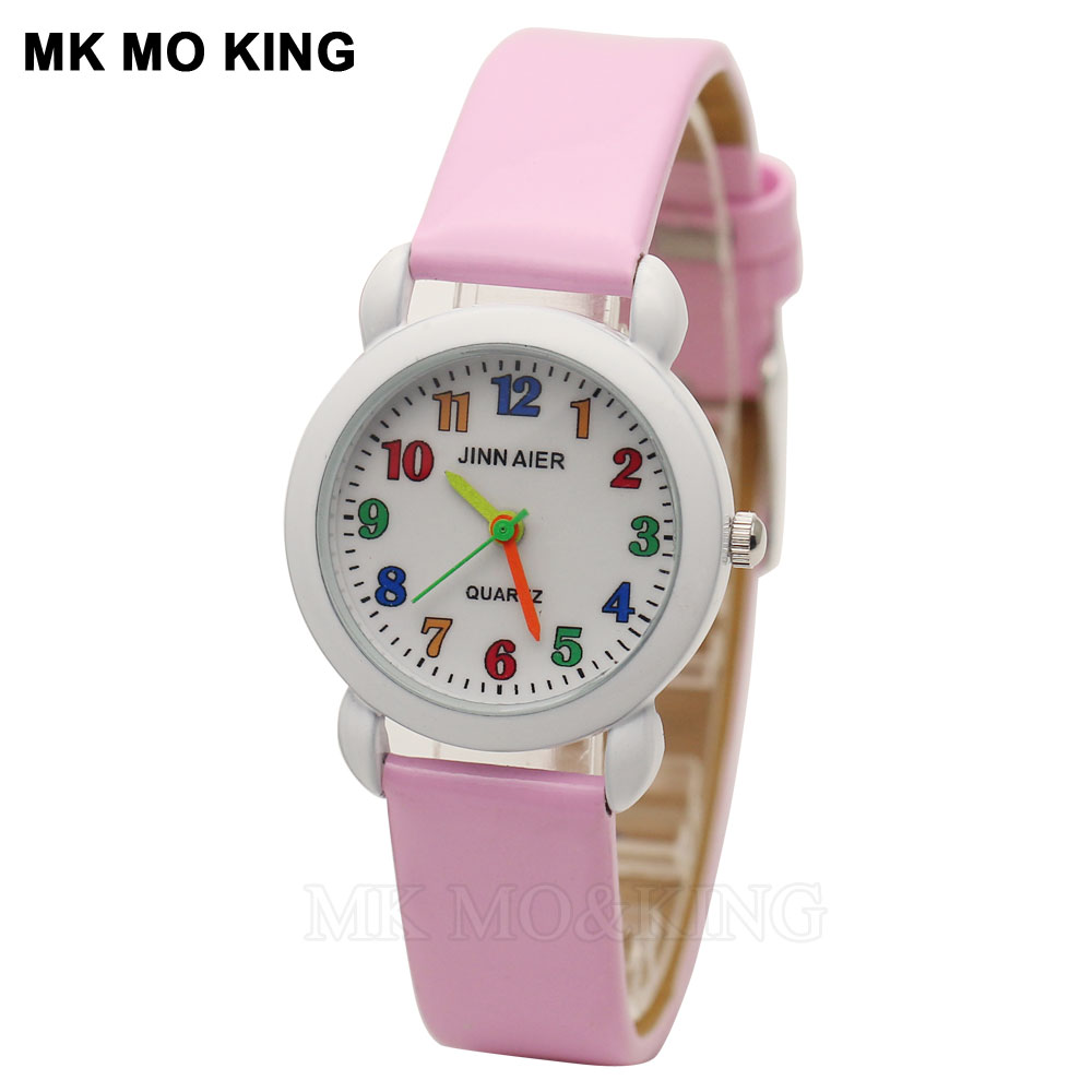 Mk Leather Fashion Luxury Student Children's Boys Girls Kids Cute Small Baby Number Quartz Wrist Watch Clock Gifts Bracelet New