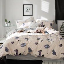 цена Fox Cartoon Print Bedlinen Single Queen Double King Size Bedding Sets 100% Cotton Duvet Cover Set в интернет-магазинах