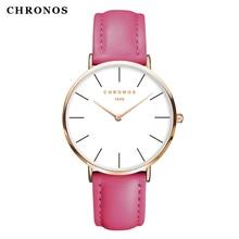 CHRONOS Relógio Das Mulheres dos homens Marca de Moda de Luxo Relógios De Pulso De Couro Correia Rosa de Ouro Caso Relógio de Ouro Rosa Relógio Montre Femme Reloj