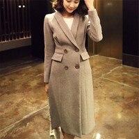 Elegant Turn Down Collar Warm Winter Wool Blends Female Office Lady Long Coat Women Casual Autumn Overcoat Outerwear