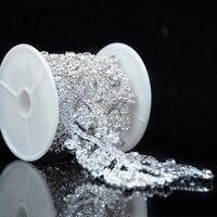 1 Yard Clear Glass Rhinestone Silver Applique Chain Bridal Dress Costume Trim R2200Y