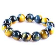 Top Quality Natural Gold Blue Tiger Eye Yellow Gemstone Round Beads 16mm 14mm Bracelet Women Men Crystal Drop Shipping AAAAA