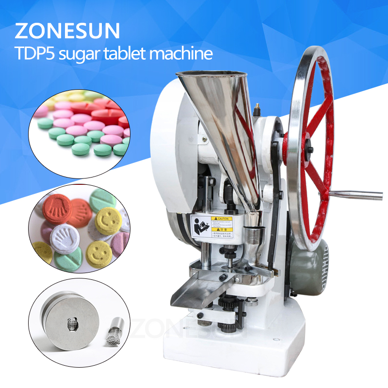 ZONESUN Single punch tablet press machine TDP5 Sugar press machine Candy making Milk TABLET PRESSING making