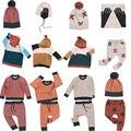 Pre-ordenar 8 unids/lote Bebé niños ropa de algodón de punto de cruz suéter a cuadros pantalones tapas niños scarve abrigo de otoño 0820 sylvia 537094228413