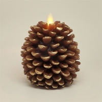 3.5*4  Pine Cone Flameless Candles Light Battery Operated with Timer Function (Brown and Unscented)