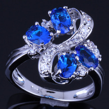 Absorbing Plant Blue Cubic Zirconia White CZ 925 Sterling Silver Ring For Women V0145 8mm blue cubic zirconia cz black
