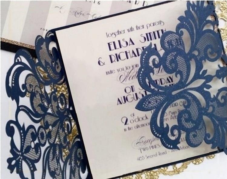 Dark blue laser cut wedding invitations card floral birthday