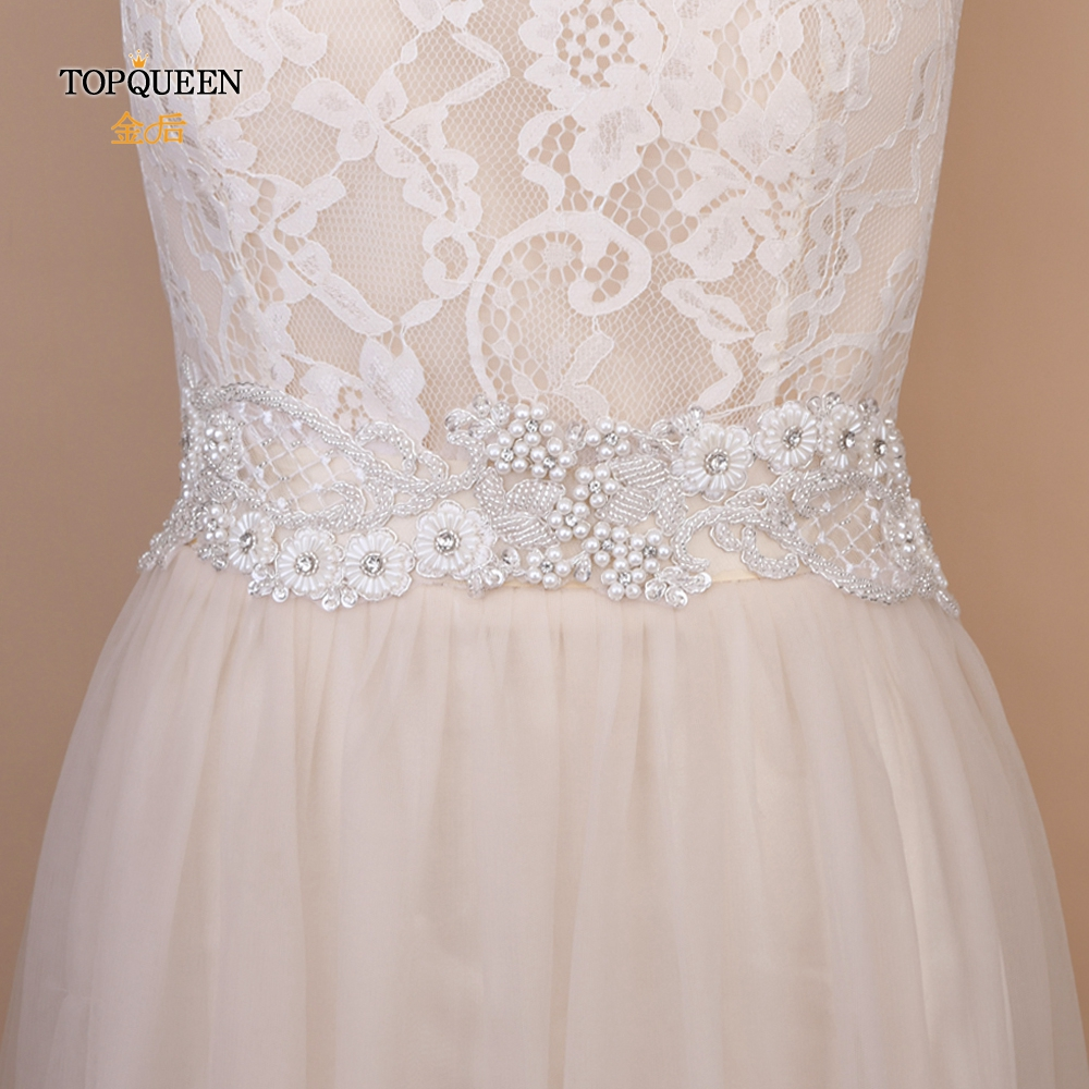 TOPQUEEN S53 Wedding Flower Waistbands For Dresses Crystal Wedding Belt Pearl Belt Wedding Crystals Belt Groom Dress Belt