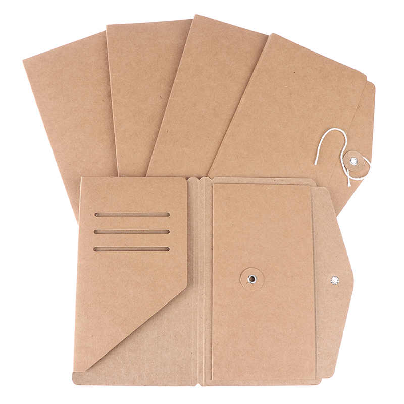 Handmade Kraft Paper File Holder For Travel Notebook Accessory Vintage Retro Card Pocket Storage Standard Pocket Passport