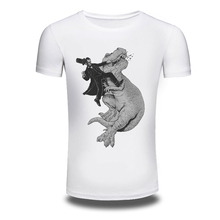 DY-102 Fashion Cartoon Dinosaur Design T Shirt Men's Personality Printing White Tops Hipster Lovers