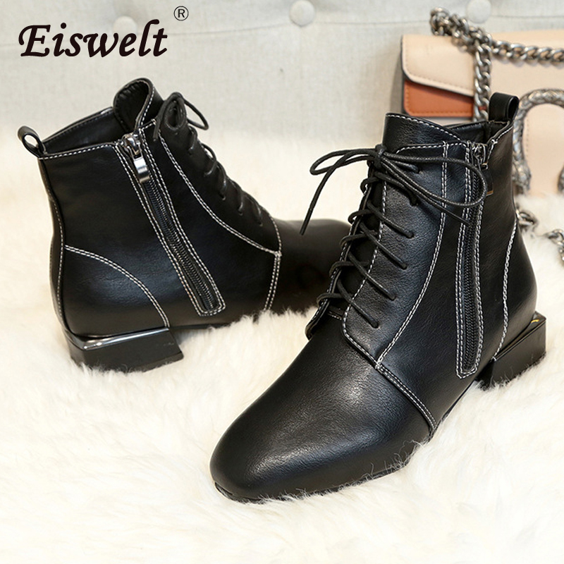 EISWELT Autumn and Winter Women Fashion Boots Female Wild Shoes Brock Square Head Strap Low Heel with Martin Boots Women Shoes
